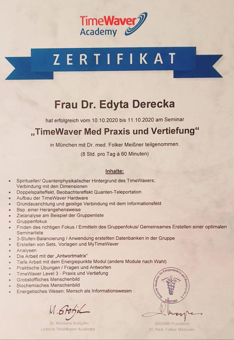 certyfikat edyta derecka timewaver healy terapia gabinet Tune In